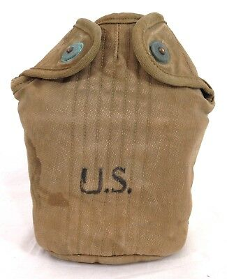 Original WWII U.S. ARMY 1942 Canvas Canteen Cover #A28