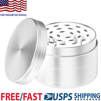 4-Layer Zinc Alloy Grinder Tobacco Herb Spice Smoke Hand Chromium Crusher Silver