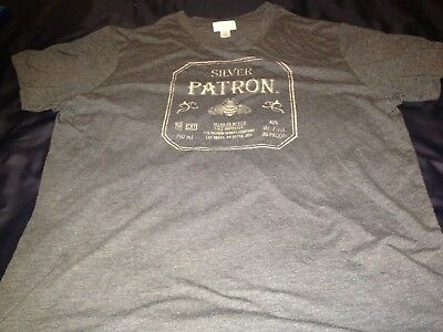 Mens PATRON TEQUILA Silver Collection Grey T-Shirt XL