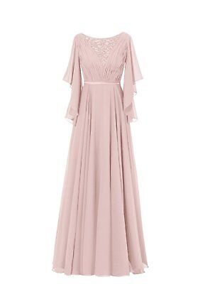 US Women's Ruffles Sleeves Pleated Long Beading Mother of the Bride Dress