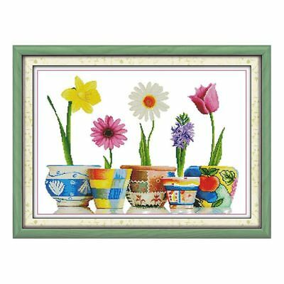 DIY Cross Stitch Hand embroidery Five vases 14 Count 62 * 46 cm S5O8