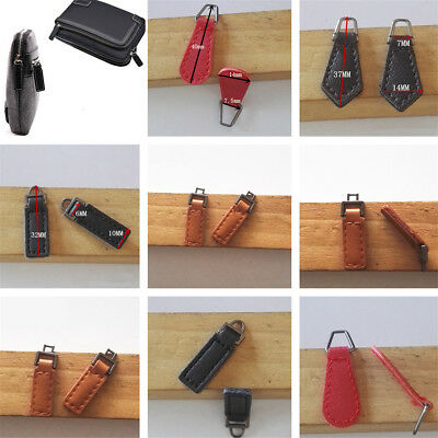 5~10Pcs PU Leather Zipper Tags Fixer Pull Tab Replacement DIY Wallet Purse Bags