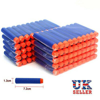 100pcs Nerf Gun Soft Refill Bullets Darts Round Head Blasters For N-Strike Toy