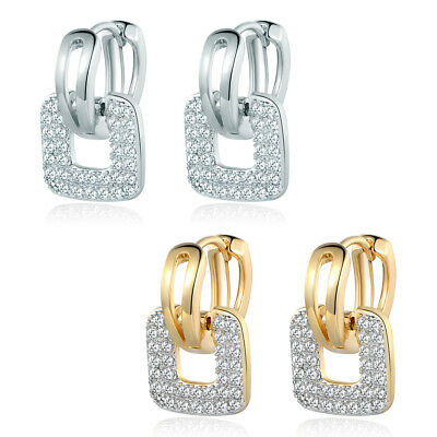 Square Plates Silver / Gold Filled Crystal Sapphire Women Lady Hoop Earrings BOX