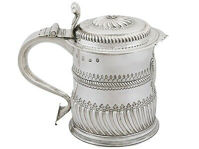 Antique William III Britannia Standard Silver Quart Tankard