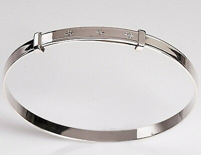 Real Silver Baby Bracelet Christening Birthday Bangle 3 Real Set Diamonds