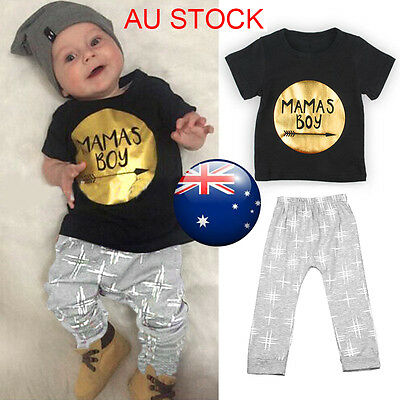 Newborn Baby Boy 2pcs  MAMAS BOY Outfit Top T-shirt + Pants Leggings Clothes Set