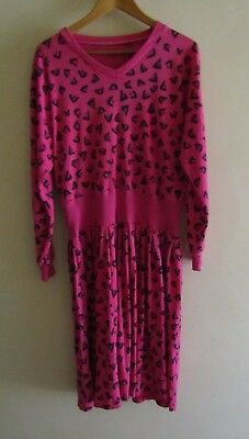 Vintage 80s hot pink long sleeve sweater dress retro