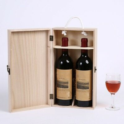 Vintage Pine Wood Rustic Double Bottle Wine Storage Box Wine Gift Case