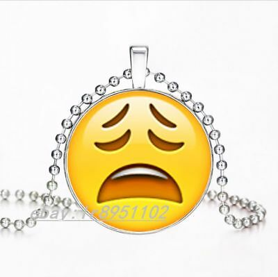 NEW EXAGGERATED EXPRESSION Emoji tired face Glass Art Pendant Chain  Necklace E