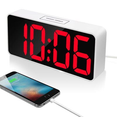"9"" Large LED Digital Alarm Clock with USB Port for Phone Charger, Snooze and And"