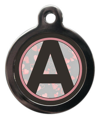 Pet ID tag Initial A-Z Pink Hearts Background