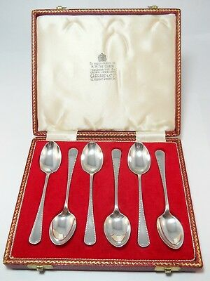 Vintage Garrard Co Sterling Silver Set Of 6 Demitasse Tea Spoons Crown Jewellers