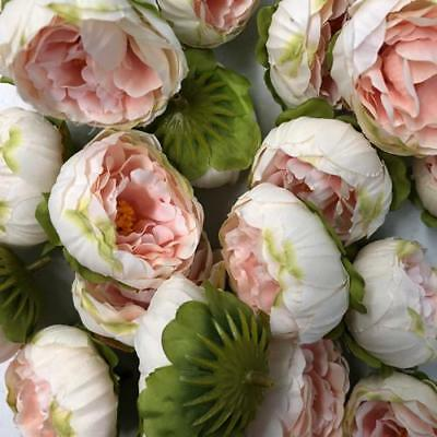 Artificial Silk Flower Heads - Blush Pink Peony Style 86 - 5 Pack
