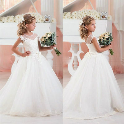 Princess Lace Holy Communion Flower Girl Dresses Baptism Wedding Ball Gown