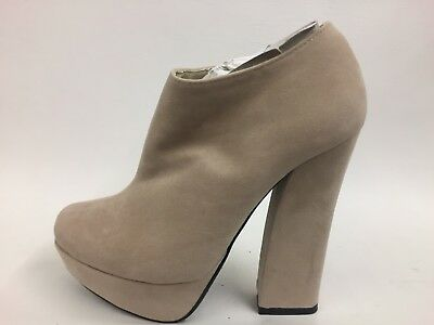 Brand New Boxed Nude Suede Retro Style Ankle Boots Quirky Look UK 3 EU 36