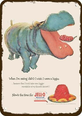1954 JELLO Vintage Look REPLICA METAL SIGN - HIPPO EATS JELL-O
