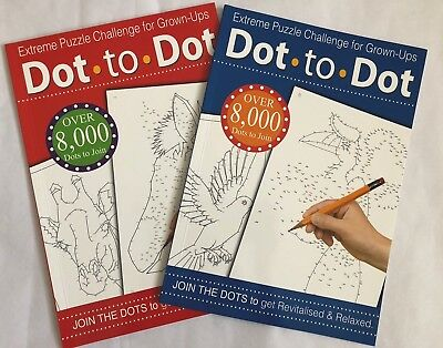 Adult Dot To Dot Extreme Puzzle Book Grown-Ups Challenge Colouring Activity Book