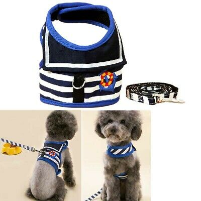 Small Pet Dog Harness Mesh Padded Sailor Vest Collar with Lead for Puppy Cat