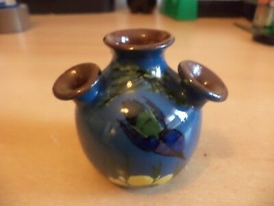 OLD VINTAGE LONGPARK TORQUAY STUDIO ART MOTTO POTTERY WARE kingfisher small VASE