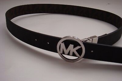 New Michael Kors Black & Silver MK Logo Belt Small (Reversible to Brown)