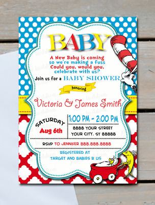 PRINTED DR SEUSS Baby Shower Invitations Cat in the Hat Shower