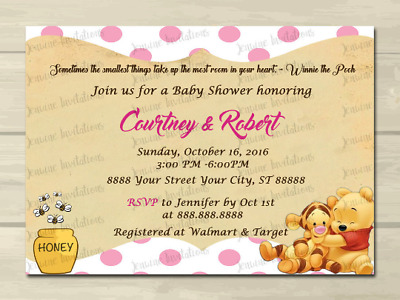Winnie The Pooh Baby Shower Invitations Set Of 10 All Wording