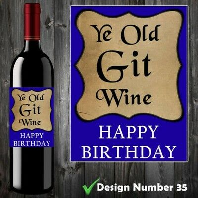 OLD GIT MENS 30th, 40th, 50th, 60th FUNNY BIRTHDAY WINE BOTTLE LABEL XMAS GIFT