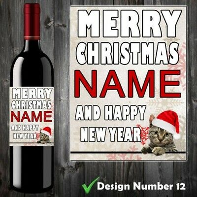 Personalised Wine/Champagne Bottle Label Christmas Gift Cat Sister Aunt Mum Her