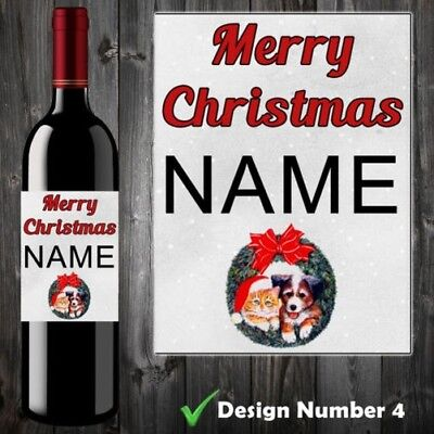 Personalised Wine Bottle Label Sticker Merry Christmas Cat Dog Party Xmas