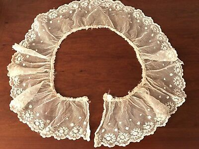 Antique  Large Tulle Lace Dress Jacket Collar Flounce Bead & Pearl Trim