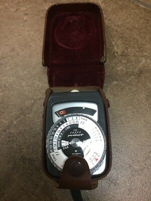Vintage Gossen Super Pilot CDS Light Exposure Meter Made in Germany Leather Case