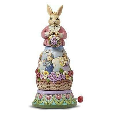 JIM SHORE HEARTWOOD CREEK Musical Rotating Bunny Scene Easter's on its Way NEW!