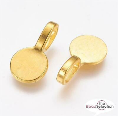 ROUND PENDANT BAILS GLUE ON 18mm x 10mm GOLD PLATED TOP QUALITY ( AK12 )