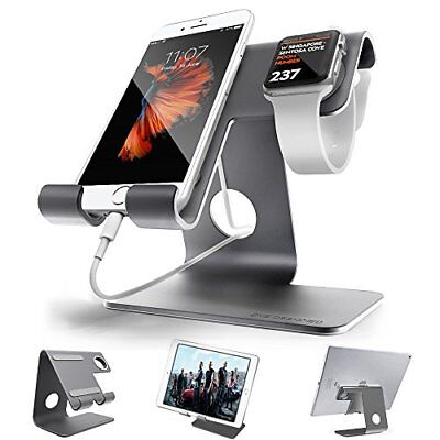 Aluminium Desktop Charging Stand for iWatch Smartphone and Tablets Grey