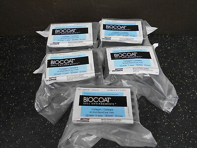 Lot Of 5 Bd Biocoat 354649 Collagen Cellware 96-Well Black Clear Plate 5/Pk