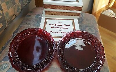 LOT 4: Avon 1876 Cape Cod Collection Set of 2 Ruby Red Dessert Plates 8 TOTAL