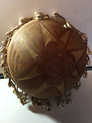 Vtg West African Musical Gourd/Bowl with shells (drum)