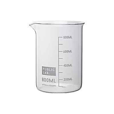 PUBLIC LAB Borosilicate Glass Beakers, Low Form, 800ml (Pack of 2)