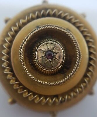 Pretty Ornate Antique Victorian Target Ruby Brooch Set In Yellow Gold