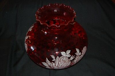"""Antique Vintage Red Glass Ribbed-Ruffled Design Hurricane Lamp Shade 14"""" X 10"""""""