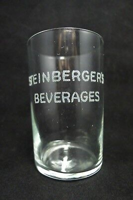 1930s Steinberger's Beverages Jersey City NJ Ginger Ale/ Soda Glass- 1930s