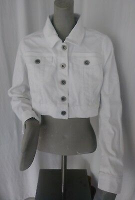 MOTHERHOOD MATERNITY White Denim Jean Crop Jacket 95905-10 RETAIL $59.98