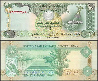 United Arab Emirates - UAE 10 Dirhams Banknote, 2009, P-27a, Sparrowhawk, UNC