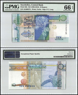 Seychelles 10 Rupees, ND 1998-2010, P-36b, Turtle, Low Serial # AG000575, PMG 66