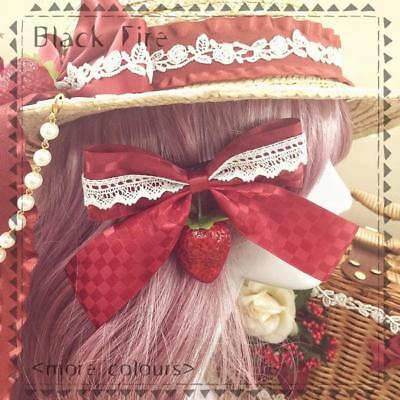 Hairpin Hair Clip Accessories Women Strawberry Cherry Handmade Lolita Lovely Red