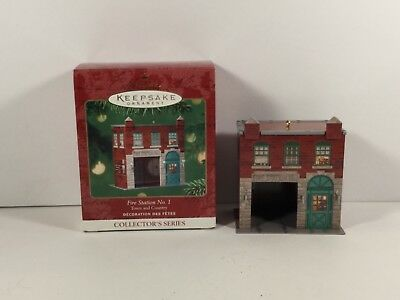 Hallmark Ornament 2001 Fire Station No. 1 3rd in Series Pressed Tin