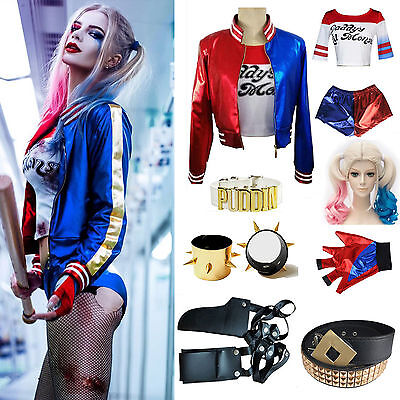 Women Girl Suicide Squad Harley Quinn Costume T-shirt Top Jacket Coat Shorts Lot