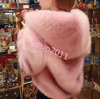 womens stylish Hooded faux Fox Fur short Coats Jackets outwear vogue girls hot s