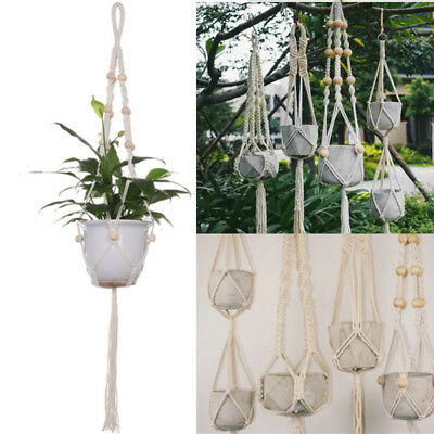 Braided Jute Rope Macrame Hanging Basket Flower Pot Holder Plant Hanger Garden F